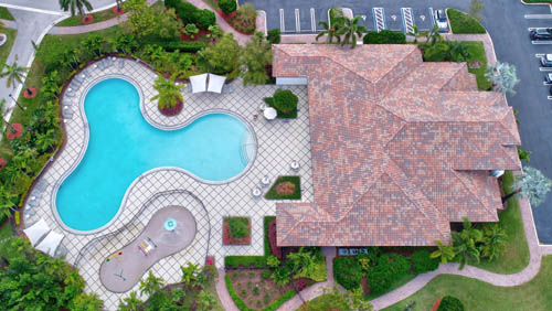 Aerial view of the clubhouse at Cooper City's Monterra community.
